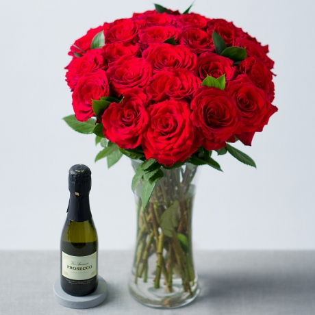 Image of 24 Red Roses and Prosecco