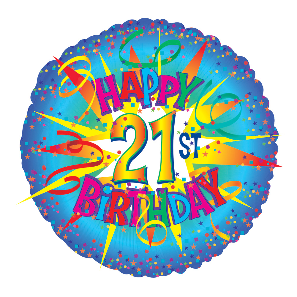 Image of Perfect for a 21st birthday! A 17 inch helium balloon, delivered in a gift box with your personal message card with the text 'Happy 21st Birthday'.