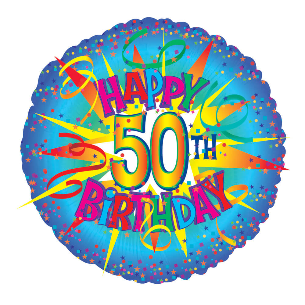 Image of Perfect for a 50th birthday! Send a 17 inch helium balloon with the text 'Happy 50th Birthday' for their 50th birthday, presented in a gift box with your personal message card.