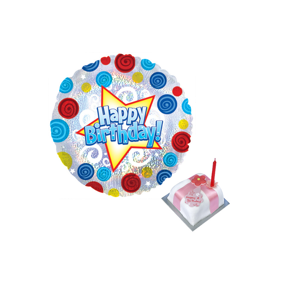 Image of A great value birthday balloon and cake gift, wish someone a happy birthday with our 18 inch happy birthday balloon and 6cm sq miniature fruit cake.Price includes delivery and personal message card!