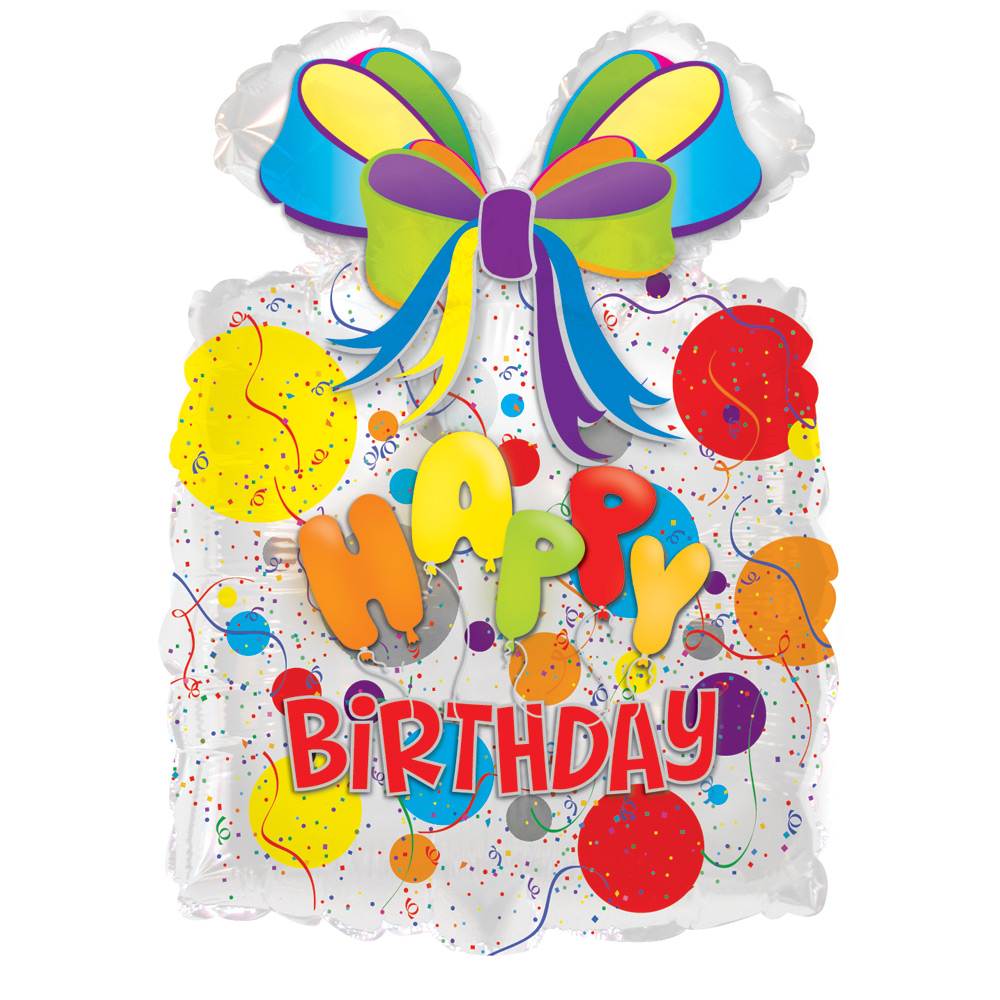 "Image of Wish someone a Happy Birthday with funky gift shaped 18.5"" x 25"" happy birthday helium balloon.Delivered fully inflated with ribbon and weight.Free chocolates with this birthday balloon!"