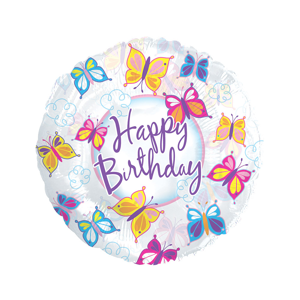 "Image of Wish someone special a 'Happy Birthday' with an 18"" helium filled balloon with butterfly design.Our butterfly birthday balloons arrive ready inflated along with your personal message in our special helium balloon delivery boxes."