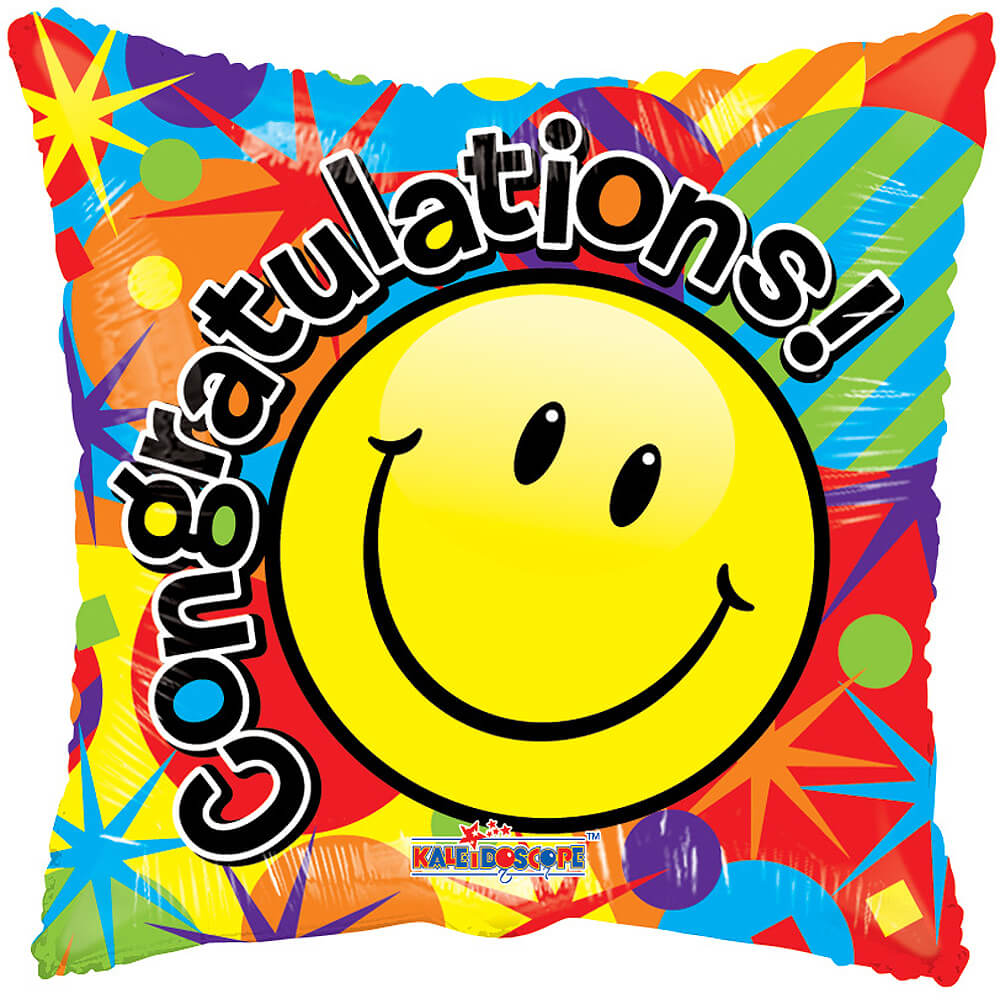 Image of This fun smiley face helium balloon is a great gift to send to someone special.The congratulations balloon is delivered fully inflated with your own personal message.
