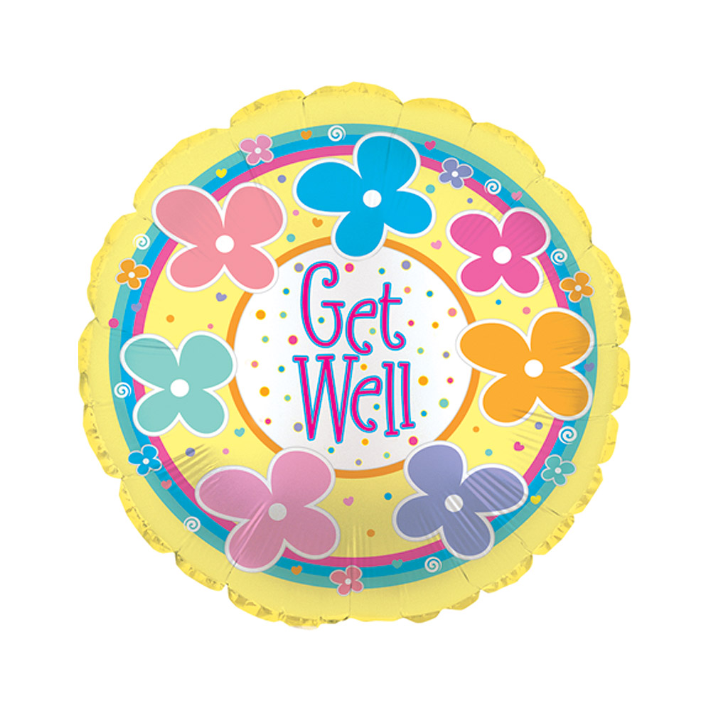 "Image of Cheer someone up with this fun 18"" Get Well Soon helium balloon, featuring the text 'Get Well'.Our get well balloons are delivered inflated with a ribbon and a weight in our custom helium balloon delivery boxes, allowing this get well soon balloon to float out of the box when opened."