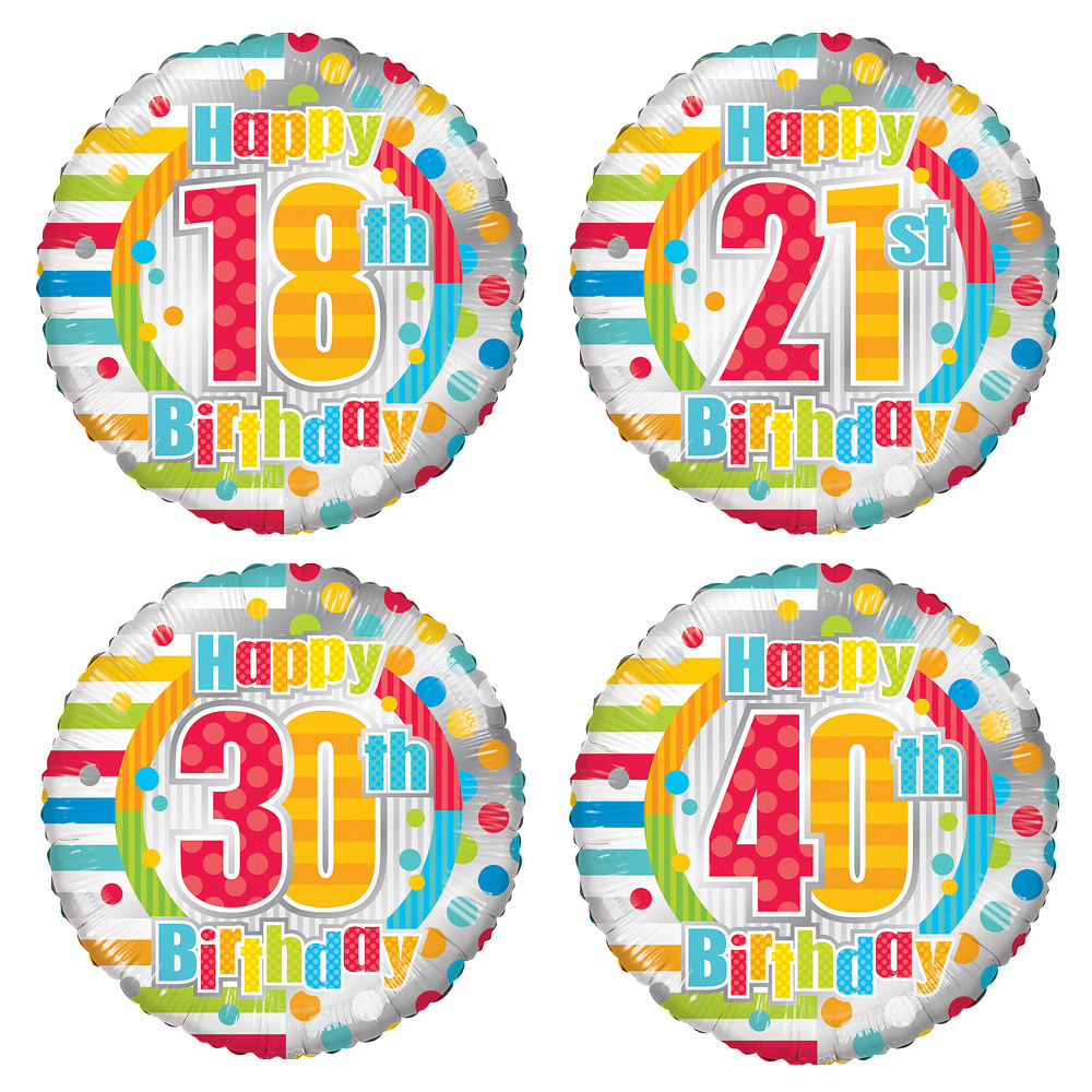 Image of This colourful 18 inch helium balloon is presented in a gift box with your personal message. Perfect for an 21st birthday!