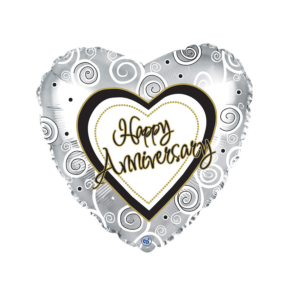 Image of Show how much you care on their anniversary with this heart-shaped 18 inch 'Happy Anniversary' balloon in a box.Our helium anniversary balloons are delivered in custom balloon boxes ready inflated so that they float of the balloon delivery boxes when opened. Send anniversary balloons by post today with Bunches.co.uk and make someone happy!