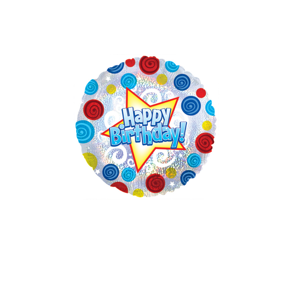 "Image of Say 'Happy Birthday' and make someone's day extra special with an 18"" helium filled happy birthday balloon.Our happy birthday balloons arrive ready inflated along with your personal message in our special helium balloons delivery boxes."
