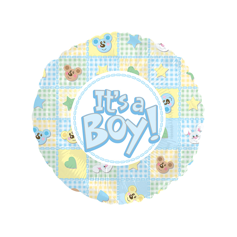 Image of Celebrate the joy of a new arrival with a new 18 inch baby boy balloon sporting the text 'It's a Baby Boy!'. This baby gift  includes delivery and gift box with your own personal message!