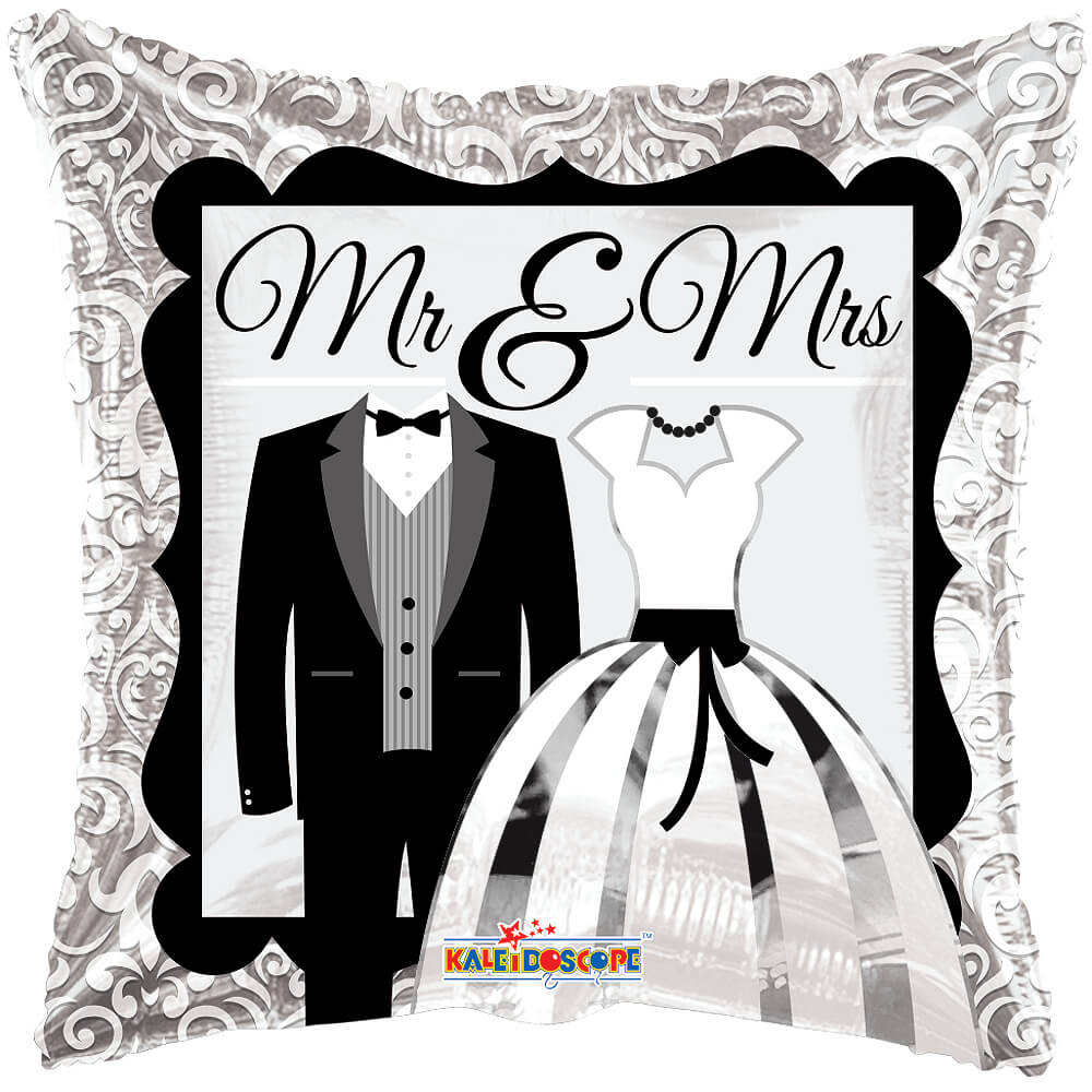 "Image of Send your best wishes to a new Mr and Mrs with this 18"" helium celebration balloon.Delivered fully inflated with your own personal message."