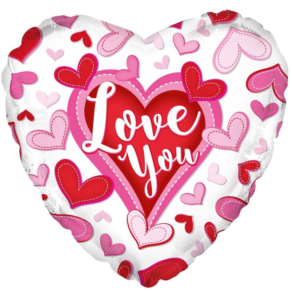 "Image of Show them how much you love them with this patterned 17"" heart shaped helium balloon.Delivered inflated and weighted with gift ribbon."