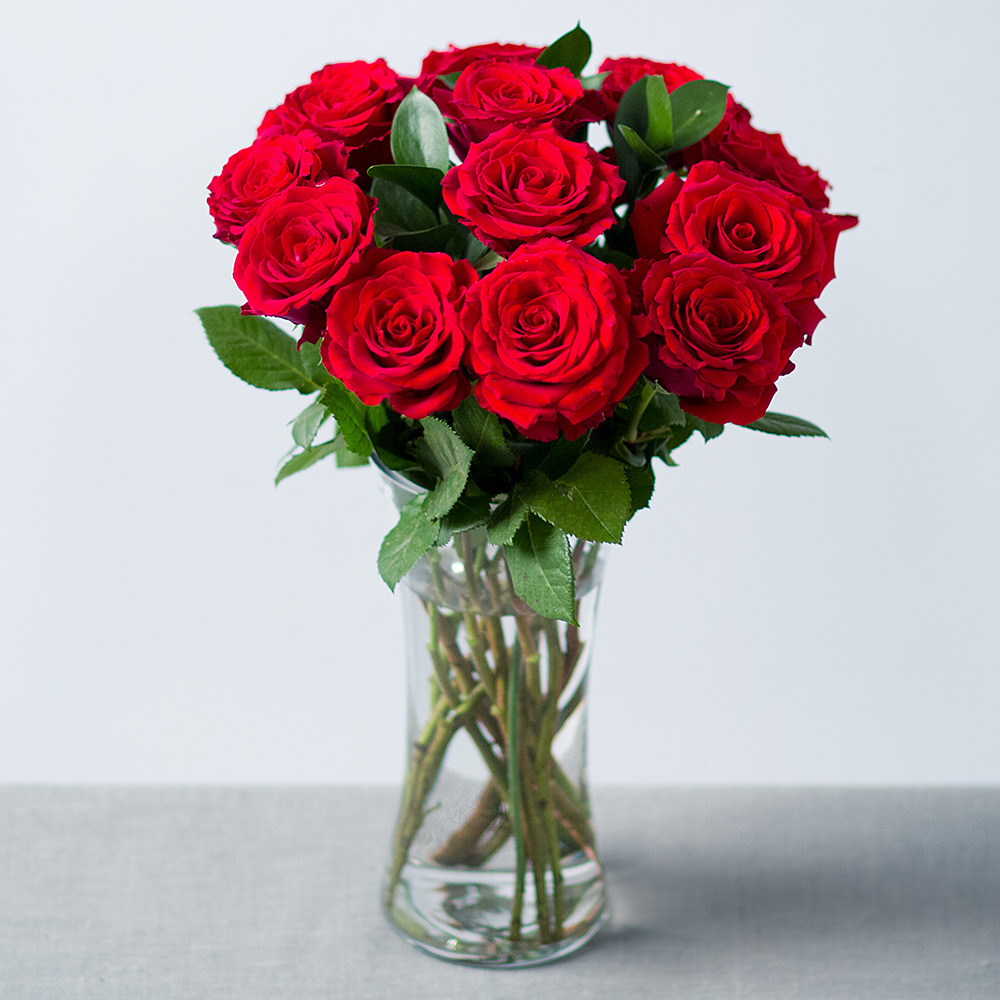 Photograph Of 12 Red Roses By Post