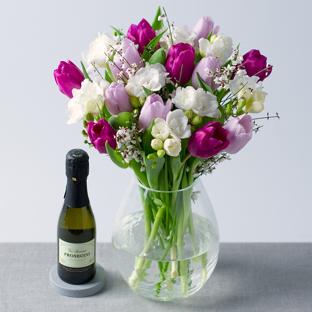 Image of Spring Tulips with Prosecco