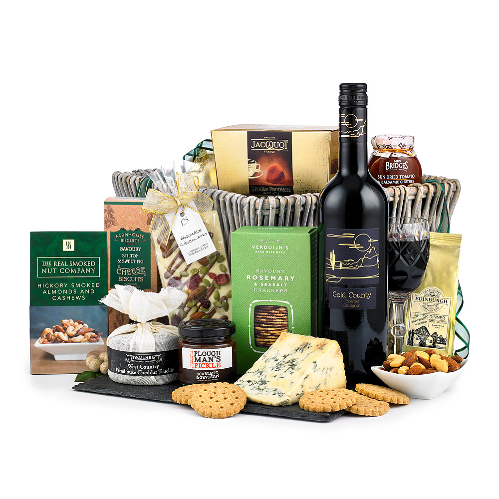 Image of From the cheddar and Stilton cheeses to the after dinner Coffee, the items in this hamper are ideal to eat as an after dinner treat while the 75cl bottle of Cabernet Sauvignon is great to help wash down the contents with.