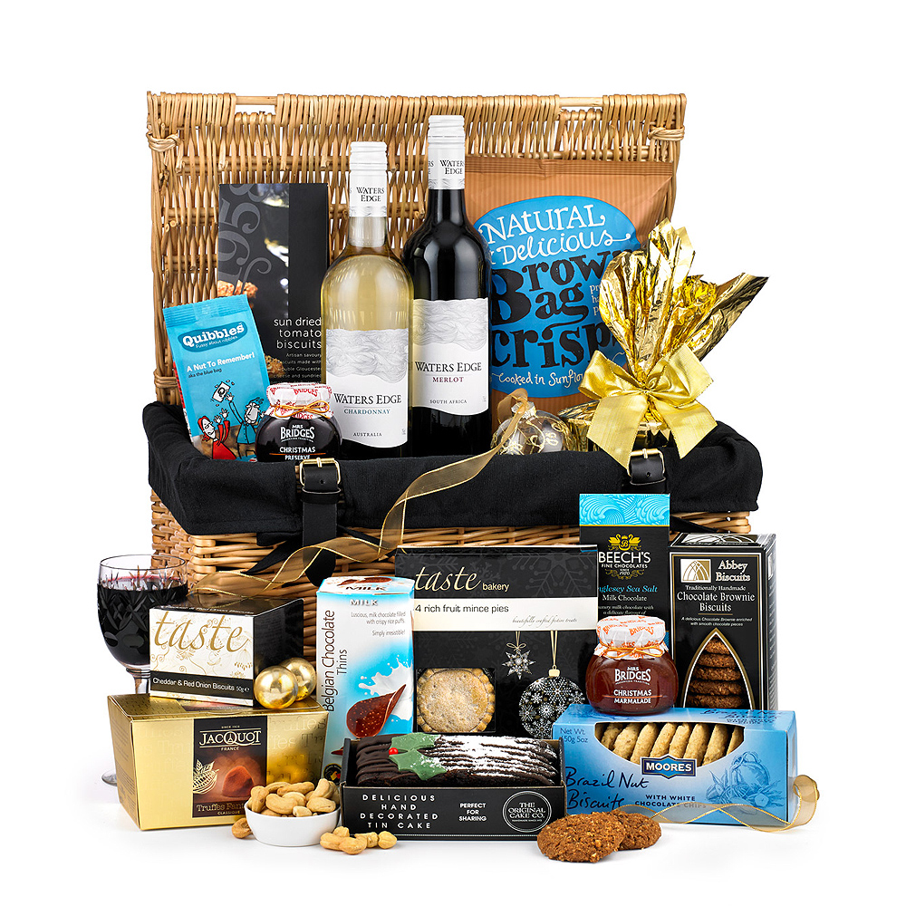 Image of Send the finest in Christmas gifts with this extravagant basket hamper which features a varied selection of tasty festive food and drinks.