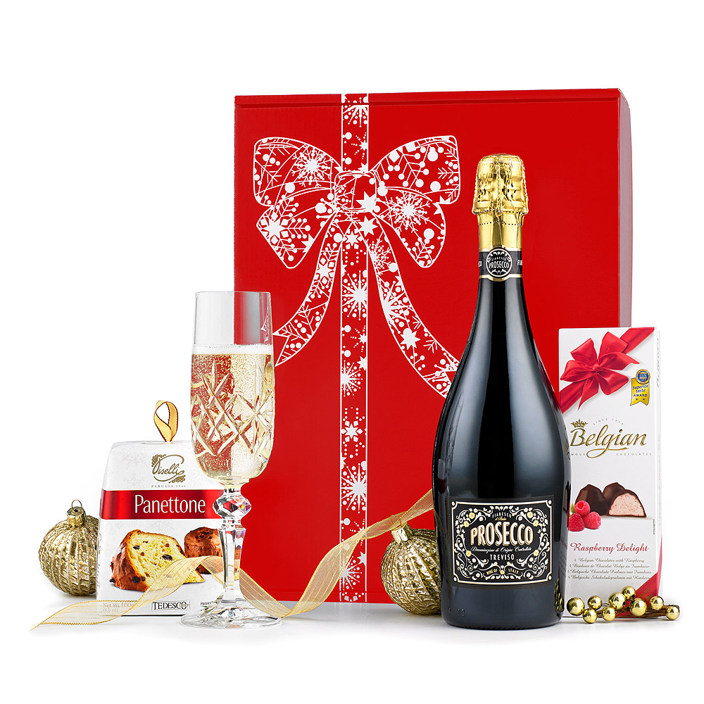 Image of A wonderful festive gift containing a bottle of Prosecco accompanied by classic Italian Panettone.
