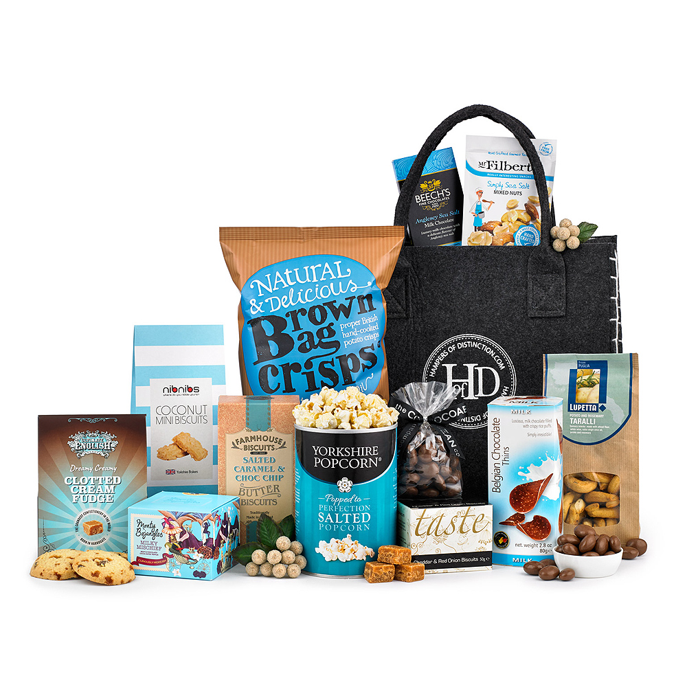 Image of The perfect gift to share! Containing no alcohol, but a wide selection of sweet and savoury gourmet treats this is the perfect hamper to send to a large family. From Chocolate Enrobed Caramels and fancy truffles to Salted Popcorn and Coconut Mini Biscuits, there's sure to be something for everyone.