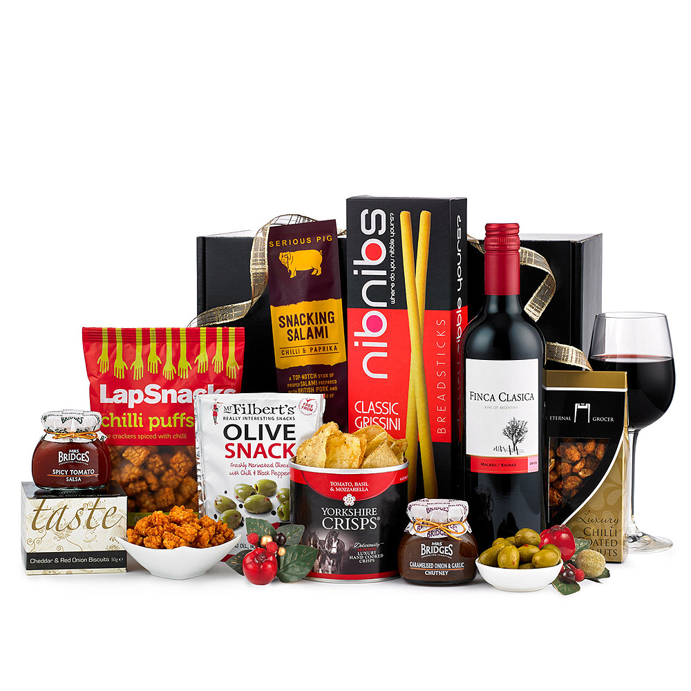 Image of A scrumptious assortment of savoury foods feature in this tempting gift box which makes an excellent gift.From Spicy Tomato Salsa and Chilli & Paprika Salami to Red Onion & Cheddar Biscuits and Chilli & Black Pepper Olives, this hamper is sure to satisfy!