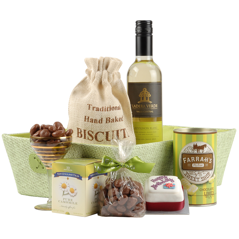 Image of This hamper will make a lovely birthday gift and features a mix of items including mini birthday cake, cookies and chocolate coated honeycomb.