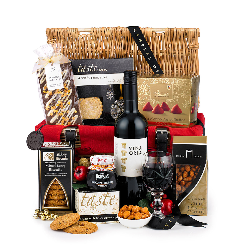 Image of This wonderfully festive hamper contains many delicious items, ranging from Blackcurrant & Blueberry Preserve to Belgian Cocoa Dusted Truffles.